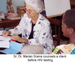 Dr Marian Scena counsels a client before HIV testing
